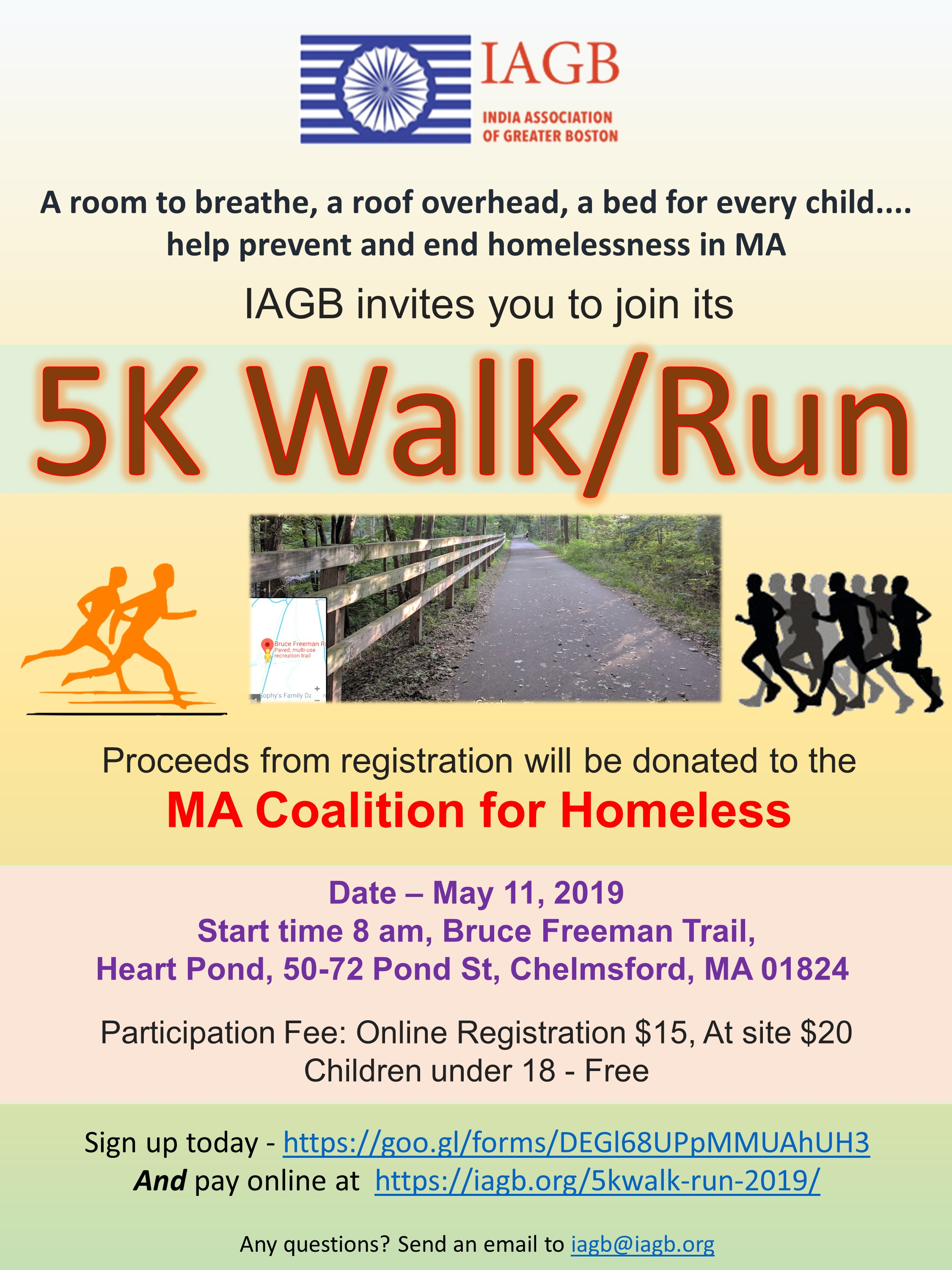 Join the India Association of Greater Boston for a 5K Walk/Run to Benefit the Coalition